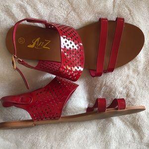 8c31dc32b7a08 Shoes - Cute! Red flat sandals ❤️